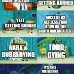 I swear, this is what happened at my school this year | THERE WILL BE NO INCIDENTS FOR THE FIFTH GRADE THIS YEAR IT'S ONLY THE SECOND TRIMESTER POKEMON CARDS GETTING BANNED YEET GETTING BANNED TOD | image tagged in spongebob diapers meme | made w/ Imgflip meme maker