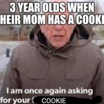 I am once again asking for your finacial support | 3 YEAR OLDS WHEN THEIR MOM HAS A COOKIE COOKIE | image tagged in i am once again asking for your finacial support | made w/ Imgflip meme maker