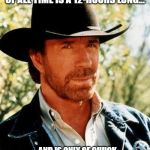Coming Soon to Netflix | THE SCARIEST HORROR MOVIE OF ALL TIME IS A 12-HOURS LONG... ...AND IS ONLY OF CHUCK NORRIS STANDING. WAITING. WATCHING. | image tagged in memes,chuck norris | made w/ Imgflip meme maker