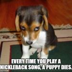 Kale salad | EVERY TIME YOU PLAY A NICKLEBACK SONG, A PUPPY DIES. | image tagged in kale salad | made w/ Imgflip meme maker