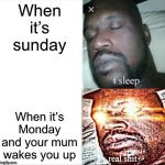 Sleeping Shaq Meme | When it's sunday When it's Monday and your mum wakes you up | image tagged in memes,sleeping shaq | made w/ Imgflip meme maker