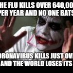 Napier taking things too seriously. | THE FLU KILLS OVER 640,000 PEOPLE PER YEAR AND NO ONE BATS AN EYE. CORONAVIRUS KILLS JUST OVER 2,000 AND THE WORLD LOSES ITS MIND. | image tagged in joker mind loss,flu,coronavirus,sick,breaking news,crazy | made w/ Imgflip meme maker
