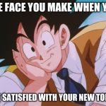 Condescending Goku Meme | THE FACE YOU MAKE WHEN YOU ARE SATISFIED WITH YOUR NEW TOILET | image tagged in memes,condescending goku | made w/ Imgflip meme maker