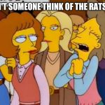 think of the rats | WON'T SOMEONE THINK OF THE RATS??? | image tagged in construction,development,rats,simpsons,funny | made w/ Imgflip meme maker