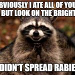 Evil Plotting Raccoon Meme | OBVIOUSLY I ATE ALL OF YOUR FOOD BUT LOOK ON THE BRIGHT SIDE I DIDN'T SPREAD RABIES | image tagged in memes,evil plotting raccoon | made w/ Imgflip meme maker