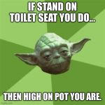 Advice Yoda Meme | IF STAND ON TOILET SEAT YOU DO... THEN HIGH ON POT YOU ARE. | image tagged in memes,advice yoda | made w/ Imgflip meme maker