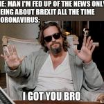 I got this | ME: MAN I'M FED UP OF THE NEWS ONLY  BEING ABOUT BREXIT ALL THE TIME CORONAVIRUS: I GOT YOU BRO | image tagged in i got this | made w/ Imgflip meme maker