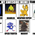 my awesome meme team | MY AWESOME MEME | image tagged in my zombie apocalypse team v2 memes,baby yoda,funny,memes,ice age baby,sanic | made w/ Imgflip meme maker