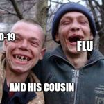 If viruses was people | COVID-19 AND HIS COUSIN FLU | image tagged in memes,ugly twins,coronavirus,funny meme | made w/ Imgflip meme maker