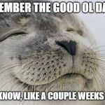 Satisfied Seal Meme | REMEMBER THE GOOD OL DAYS? YOU  KNOW, LIKE A COUPLE WEEKS AGO? | image tagged in memes,satisfied seal | made w/ Imgflip meme maker