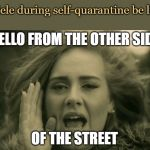 adele hello | HELLO FROM THE OTHER SIDE OF THE STREET Adele during self-quarantine be like | image tagged in adele hello | made w/ Imgflip meme maker