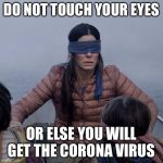 Bird Box Meme | DO NOT TOUCH YOUR EYES OR ELSE YOU WILL GET THE CORONA VIRUS | image tagged in memes,bird box | made w/ Imgflip meme maker