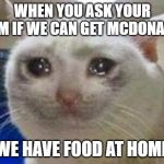 "Sad cat | WHEN YOU ASK YOUR MOM IF WE CAN GET MCDONALDS ""WE HAVE FOOD AT HOME"" 