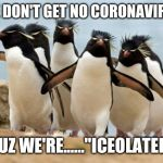 "Funny punny | WE DON'T GET NO CORONAVIRUS CUZ WE'RE......""ICEOLATED"" 