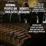 Assassination chain | NORMAL PEOPLE ON THIS SITE UPVOTE BEGGERS PEOPLE WHO ONLY MAKE MEMES ON THINGS THAT ARE TRENDING TO GAIN LOTS OF FREE ATTENTION RAYDOG AND O | image tagged in assassination chain | made w/ Imgflip meme maker