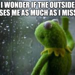 Sad Kermit | I WONDER IF THE OUTSIDE MISSES ME AS MUCH AS I MISS IT! jat4264 | image tagged in sad kermit | made w/ Imgflip meme maker