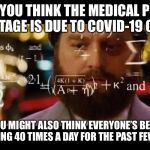Shortage Logic | IF YOU THINK THE MEDICAL PPE SHORTAGE IS DUE TO COVID-19 CASES YOU MIGHT ALSO THINK EVERYONE'S BEEN DEFECATING 40 TIMES A DAY FOR THE PAST F | image tagged in hangover math,covid-19,toilet paper,shortage | made w/ Imgflip meme maker