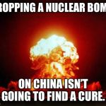 Nuclear Explosion Meme | DROPPING A NUCLEAR BOMB ON CHINA ISN'T GOING TO FIND A CURE. | image tagged in memes,nuclear explosion | made w/ Imgflip meme maker