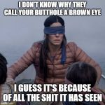 Bird Box Meme | I DON'T KNOW WHY THEY CALL YOUR BUTTHOLE A BROWN EYE I GUESS IT'S BECAUSE OF ALL THE SHIT IT HAS SEEN | image tagged in memes,bird box,lmao,funny,funny memes | made w/ Imgflip meme maker