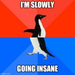 Socially Awesome Awkward Penguin Meme | I'M SLOWLY GOING INSANE | image tagged in memes,socially awesome awkward penguin | made w/ Imgflip meme maker