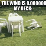 We Will Rebuild Meme | WHEN THE WIND IS 0.0000001MPH  MY DECK: | image tagged in memes,we will rebuild | made w/ Imgflip meme maker