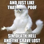Persian white monkey | AND JUST LIKE THAT............. POOF SIN, DEATH, HELL AND THE GRAVE LOST | image tagged in persian white monkey | made w/ Imgflip meme maker