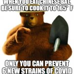 An Important PSA! | WHEN YOU EAT CHINESE BAT, BE SURE TO COOK IT TO 165*  F ONLY YOU CAN PREVENT 6 NEW STRAINS OF COVID | image tagged in smokey bear,covid-19 | made w/ Imgflip meme maker