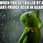 Sad Kermit | WHEN YOU GET KILLED BY A SMART-FRIDGE USER IN AGAR .IO | image tagged in sad kermit | made w/ Imgflip meme maker