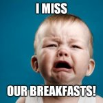 BABY CRYING | I MISS OUR BREAKFASTS! | image tagged in baby crying | made w/ Imgflip meme maker