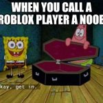 Okay Get In | WHEN YOU CALL A ROBLOX PLAYER A NOOB | image tagged in okay get in | made w/ Imgflip meme maker