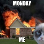 Burn Kitty Meme | MONDAY ME | image tagged in memes,burn kitty,grumpy cat | made w/ Imgflip meme maker