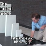 Domino Effect | The  Diamond  Throne Iskall85 paying for his shop | image tagged in domino effect,hermitcraft,hermitcraft season 7 | made w/ Imgflip meme maker