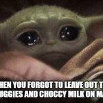 Crying Baby Yoda | WHEN YOU FORGOT TO LEAVE OUT THE CHICKIE NUGGIES AND CHOCCY MILK ON MAY FOURTH | image tagged in crying baby yoda | made w/ Imgflip meme maker