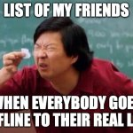 List of people I trust | LIST OF MY FRIENDS WHEN EVERYBODY GOES OFFLINE TO THEIR REAL LIFE | image tagged in list of people i trust | made w/ Imgflip meme maker