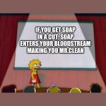 Lisa Simpson Speech | IF YOU GET SOAP IN A CUT, SOAP ENTERS YOUR BLOODSTREAM MAKING YOU MR.CLEAN | image tagged in lisa simpson speech | made w/ Imgflip meme maker