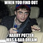 wanna buy some magic | WHEN YOU FIND OUT HARRY POTTER WAS A BAD DREAM | image tagged in wanna buy some magic | made w/ Imgflip meme maker