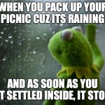 Can anyone relate? | WHEN YOU PACK UP YOUR PICNIC CUZ ITS RAINING AND AS SOON AS YOU GET SETTLED INSIDE, IT STOPS | image tagged in kermit the frog rainy day,picnic,rain | made w/ Imgflip meme maker