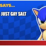 Sugar is just gay salt | SUGAR IS JUST GAY SALT | image tagged in sonic says sasr,sonic says,sonic meme | made w/ Imgflip meme maker