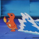 Charmander running from water meme