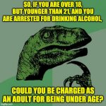 Back in my day, the legal drinking age was 18. | SO, IF YOU ARE OVER 18, BUT YOUNGER THAN 21, AND YOU ARE ARRESTED FOR DRINKING ALCOHOL, COULD YOU BE CHARGED AS AN ADULT FOR BEING UNDER AGE | image tagged in memes,philosoraptor | made w/ Imgflip meme maker