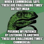 "Philosoraptor | WHEN A COMMERCIAL SAYS ""THESE ARE CHALLENGING TIMES"" DO THEY MEAN . . . PUSHING MY PATIENCE BY LISTENING TO ANOTHER ""THESE ARE CHALLENGING T 