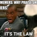 It's the law | NON MEMERS: WHY PRAISE SHREK? MEMERS: | image tagged in it's the law | made w/ Imgflip meme maker