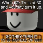 Roblox Triggered | When the TV is at 30 and you say turn it up. SO THEY TURN IT TO 36 INSTEAD OF 35!!!! | image tagged in roblox triggered | made w/ Imgflip meme maker