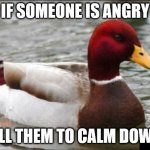 Malicious Advice Mallard Meme | IF SOMEONE IS ANGRY TELL THEM TO CALM DOWN! | image tagged in memes,malicious advice mallard | made w/ Imgflip meme maker