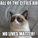 Grumpy Cat Bed Meme | LET ALL OF THE CITIES BURN! NO LIVES MATTER! | image tagged in memes,grumpy cat bed,grumpy cat | made w/ Imgflip meme maker