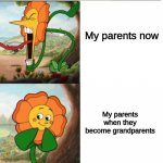 Parents... | My parents now My parents when they become grandparents | image tagged in cuphead flower | made w/ Imgflip meme maker