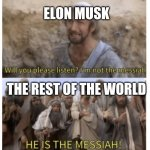 life | ELON MUSK THE REST OF THE WORLD | image tagged in he is the messiah,elon musk | made w/ Imgflip meme maker
