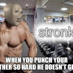 stronk | WHEN YOU PUNCH YOUR BROTHER SO HARD HE DOESN'T GET UP | image tagged in meme man stronk | made w/ Imgflip meme maker