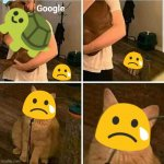 Google please, bring back the blobs as well. | Google | image tagged in sad cat holding dog,emoji,cat,dog,google,jealous | made w/ Imgflip meme maker