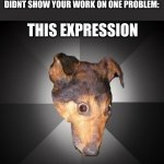 It do be like that sometimes | THIS EXPRESSION GAVE ME DEPRESSION WHEN YOU GET 99% BECAUSE YOU DIDNT SHOW YOUR WORK ON ONE PROBLEM: | image tagged in memes,depression dog | made w/ Imgflip meme maker